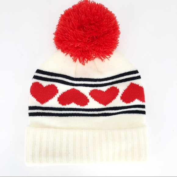 b368315a31c Dakine Maggie May Pom Beanie Hat Cream Red Hearts